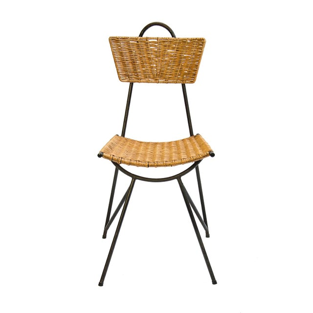 """A Rattan Set of Four Dining Chairs And a Round Dining Table, France 1950's Chairs: 33""""h x 17"""" h seat x 15.5"""" w x 14.5""""d..."""