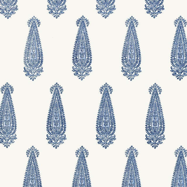 Contemporary Schumacher Katara Paisley Wallpaper in Delft For Sale - Image 3 of 3