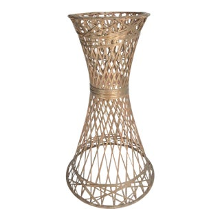 1960s Boho Chic Russell Woodard Bronze Finish Plant Stand For Sale