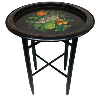 Artisan Handpainted Fruit Tole Tray Folding Side Table For Sale