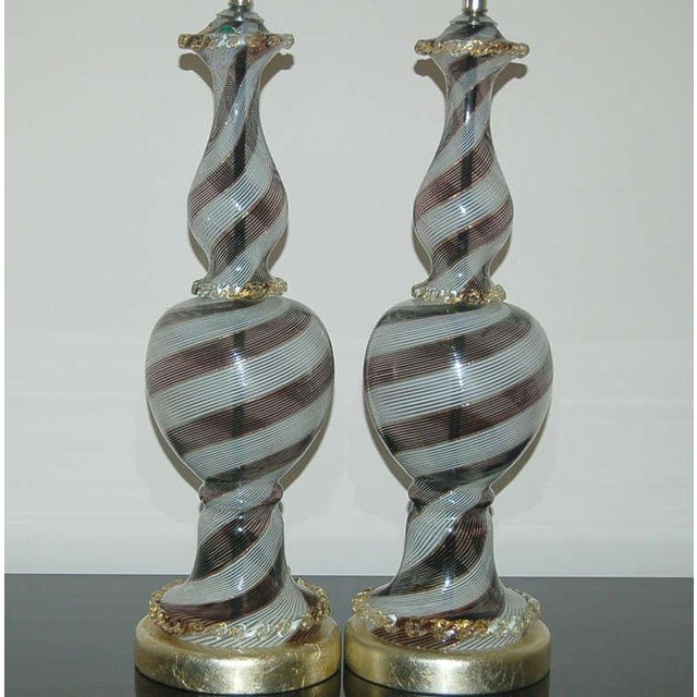 Dino Martens Vintage Dino Martens Black & White Murano Glass Table Lamps For Sale - Image 4 of 9
