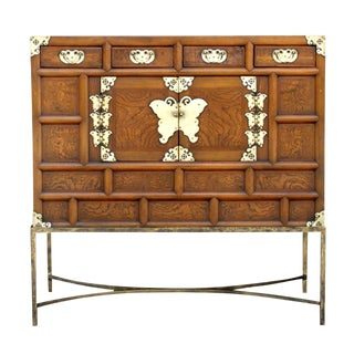 Antique Burr Korean Butterfly Cabinet For Sale