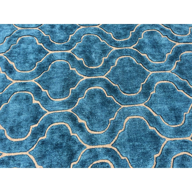 Hand Tufted Trellis Blue Rug - 8' X 10' - Image 5 of 6