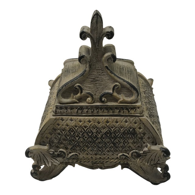 Early 2000s French Style Fleur De Lis Crested Box For Sale