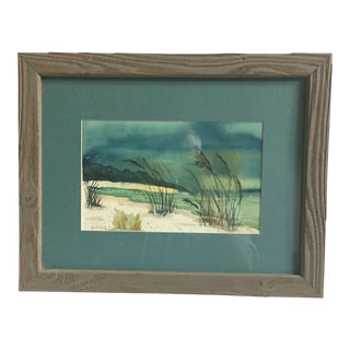 Framed Beach Scene Lithograph For Sale