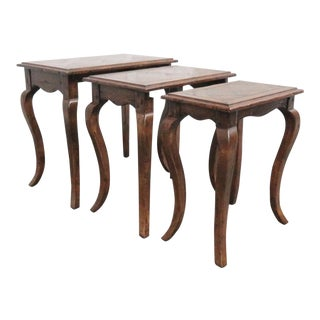 French Country Oak Nesting Tables - 3 Pieces