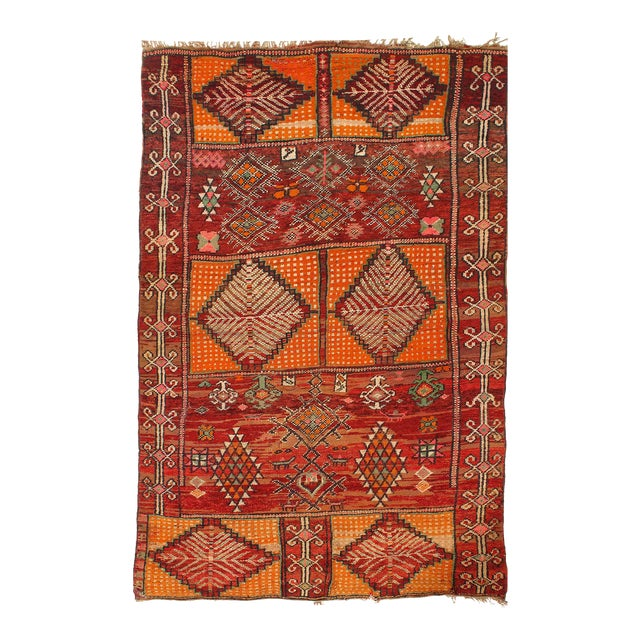Vintage Red Fine Hand Knotted Moroccon Rug 5'6'' X 8'11'' For Sale
