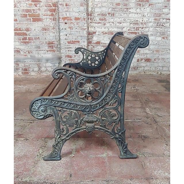 Americana 19th Century Fabulous Cast Iron & Wood Patio / Garden 3 Pieces Set For Sale - Image 3 of 11