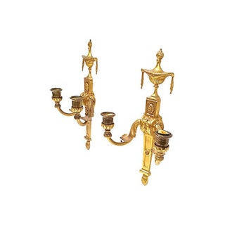 Antique Gilt Empire Wall Candle Sconces - a Pair Preview