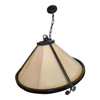 Paul Ferrante Iron and Parchment Hanging Light Fixture For Sale