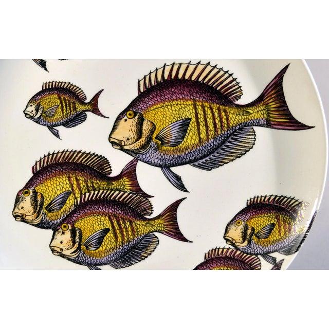 Rare Piero Fornasetti Fish Plate, Passata de pesce (Passage of Fish) or Pesci. Circa 1960. The earthenware pottery plate...