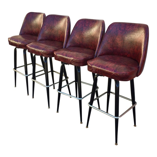 Incredible Vintage Mid Century Modern Bar Stools Set Of 4 Dailytribune Chair Design For Home Dailytribuneorg