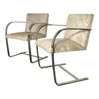 Forsyth One of a Kind Mies Van Der Rohe Brno Chairs for Knoll in Brazilian Cowhide - Pair For Sale