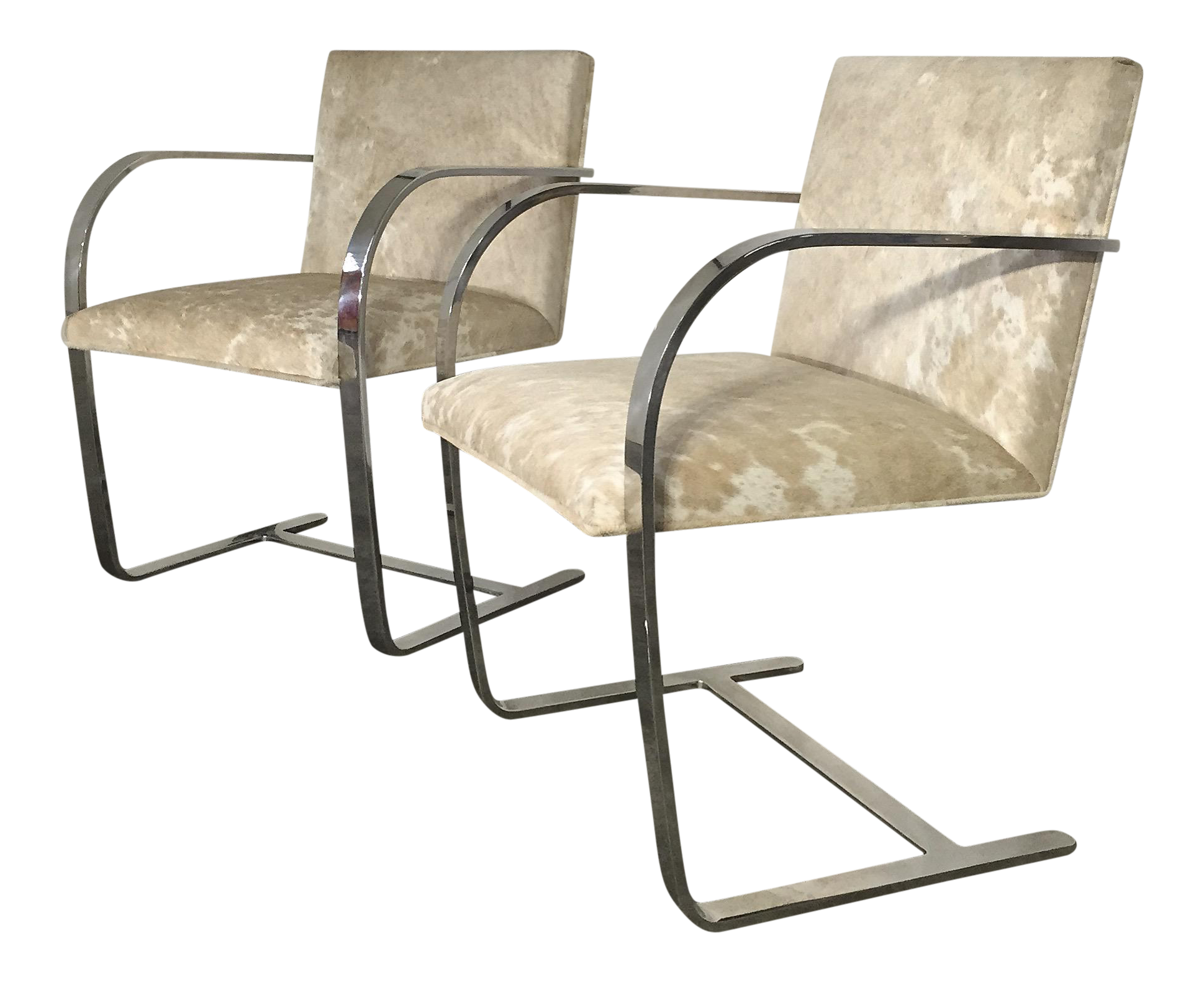 Forsyth One Of A Kind Mies Van Der Rohe Brno Chairs For Knoll In Brazilian  Cowhide