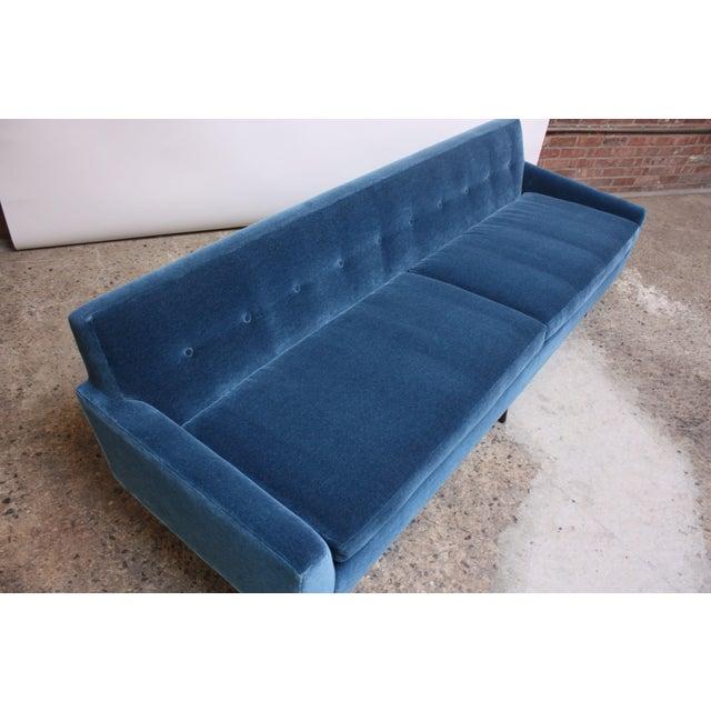 Milo Baughman for Thayer Coggin Milo Baughman for Thayer Coggin Walnut Sofa in Blue Mohair For Sale - Image 4 of 13