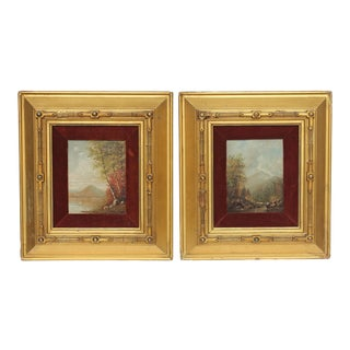 Hudson River School Autumn Landscape Oil Paintings - A Pair For Sale