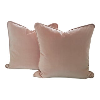 Blush Pink Velvet Pillows - A Pair