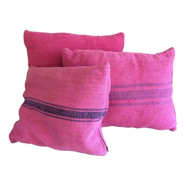 Pink Dyed Grain Sack Pillows - Set Of 3 For Sale