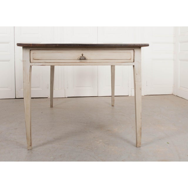 White 19th Century English Painted Pine Farm Table For Sale - Image 8 of 10