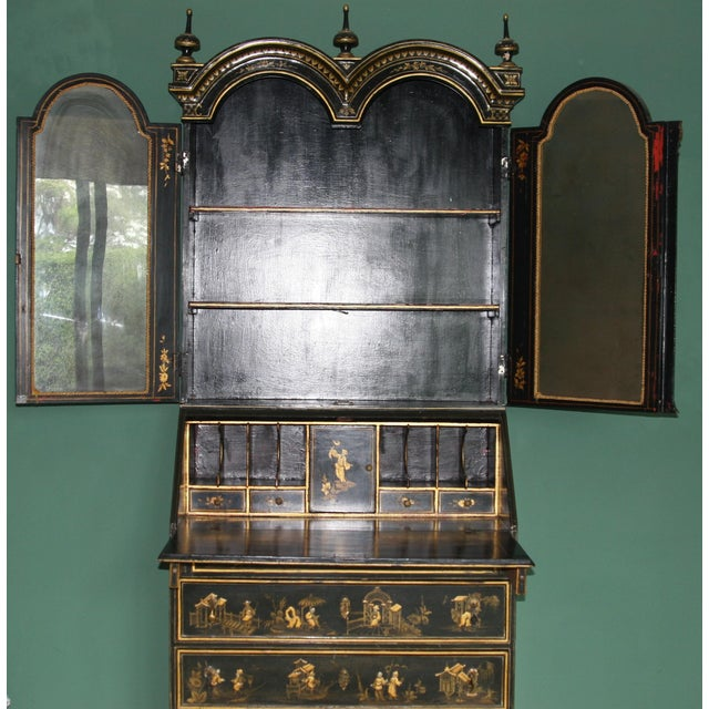 1900s Queen Anne Style Chinoiserie Gold Secretary Desk For Sale - Image 4 of 13