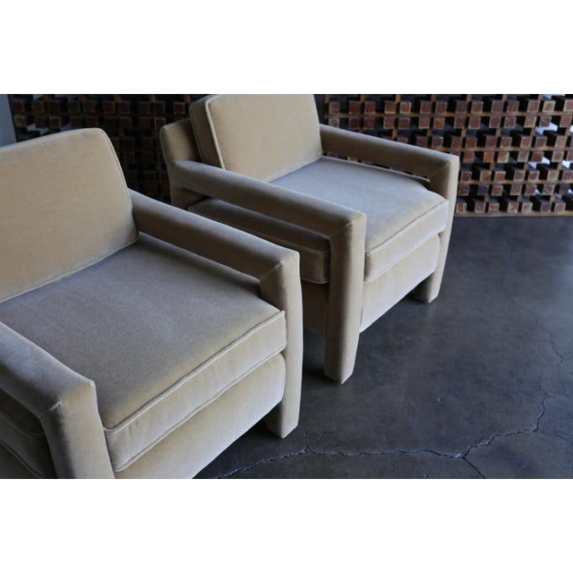 1970's Parsons Lounge Chairs in Mohair For Sale - Image 12 of 13