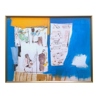 "Jean Michel Basquiat Rare Vintage 1997 Framed Lithograph Fine Art Print "" Worthy Constituents "" 1986 For Sale"