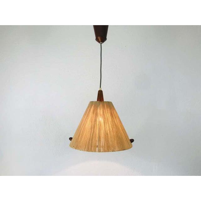 Mid-Century Modern Midcentury Teak and Rattan Hanging Lamp, circa 1970 For Sale - Image 3 of 12