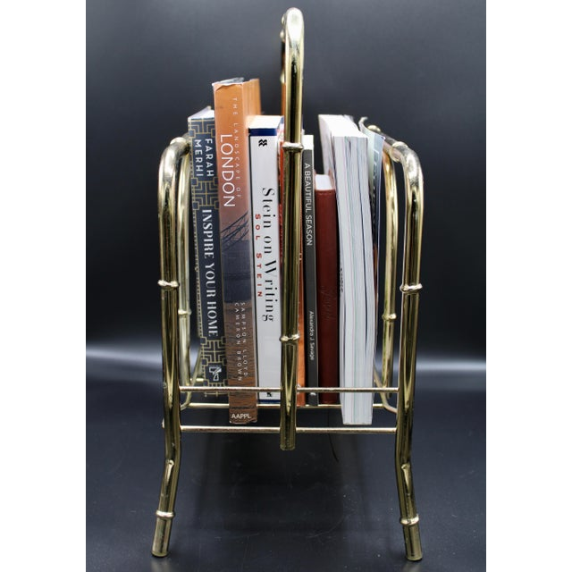 Vintage Brass Bamboo Style Magazine Rack / Book Shelf For Sale - Image 10 of 13