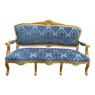 1940s French Blue Damask With Gold Frame Louis XVI Sofa For Sale