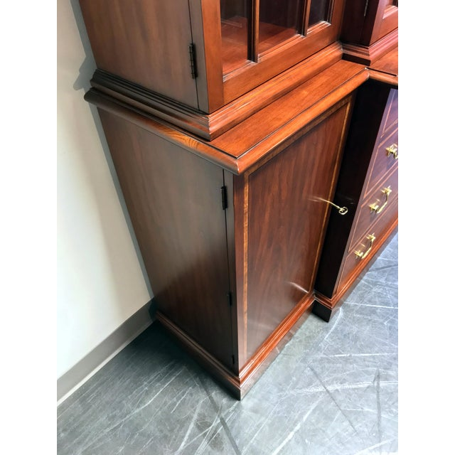 Henkel Harris Henkel Harris Solid Wild Black Cherry Chippendale Breakfront China Cabinet For Sale - Image 4 of 13