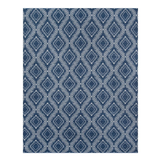 """Erin Gates by Momeni Easton Pleasant Navy Indoor/Outdoor Hand Woven Area Rug - 5' X 7'6"""" For Sale"""