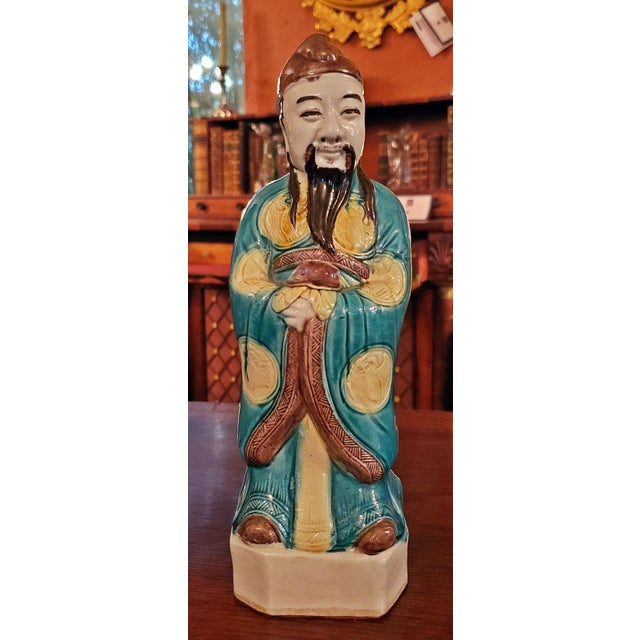 Vintage Chinese Ceramic Monks - a Pair For Sale - Image 9 of 12