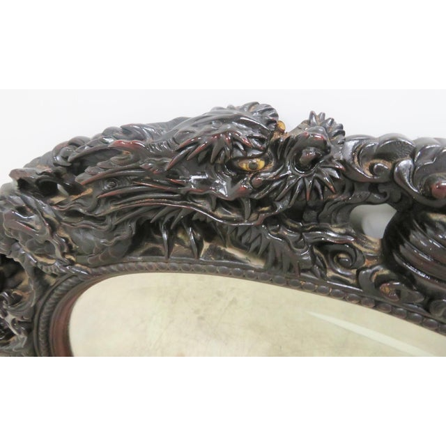 Ebonized Chinese Dragon Carved Oval Mirror - Image 2 of 8