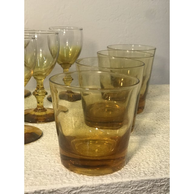 Carlo Moretti 1960s Yellow Carlo Moretti Style Bar Glass Set of 12 For Sale - Image 4 of 7