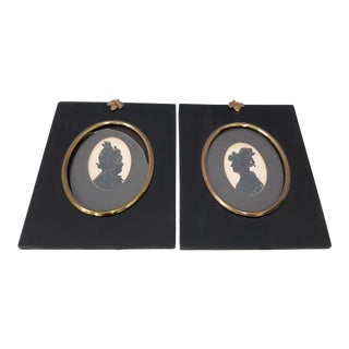 "Pair of Antique ""Sisters"" Hand Cut & Embellished Silhouettes 19th Century For Sale"