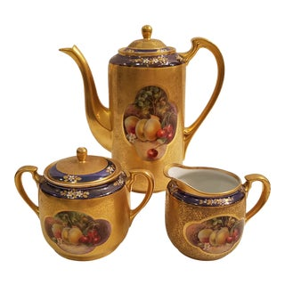 Pickard China Gold With Fruit Motif Coffee Set Coffee Pot, Cream and Sugar - Set of 3 For Sale