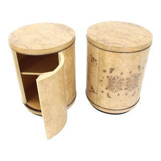 Pair of Cylinder Drum Shape End Tables Nightstands Burl Wood For Sale