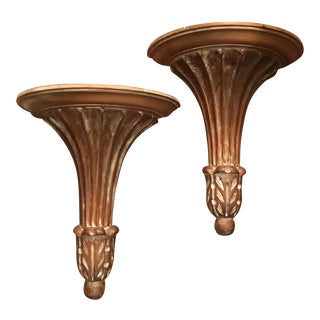 Decorative Crafts Italian Neoclassical Wood Wall Brackets - a Pair For Sale