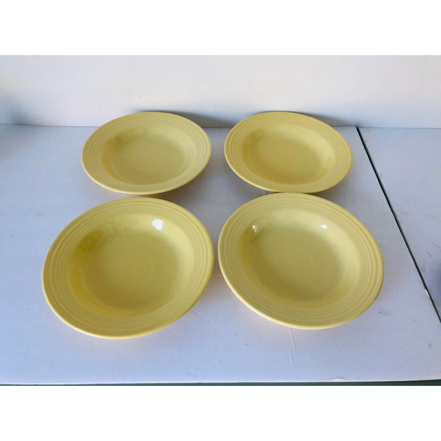 Fiesta Ware Yellow Soup Bowls S-4 For Sale - Image 4 of 6