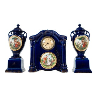 Antique English Three-Piece Decorative Clock Set With Two Urns For Sale
