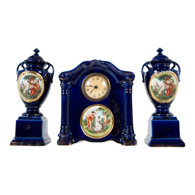 Late 19th Century Antique English Three-Piece Decorative Clock Set With Two Urns - Set of 3 For Sale