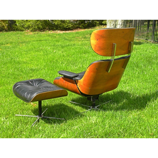 Animal Skin Vintage Plycraft Mid Century Vintage Leather Lounge Chair & Ottoman For Sale - Image 7 of 11