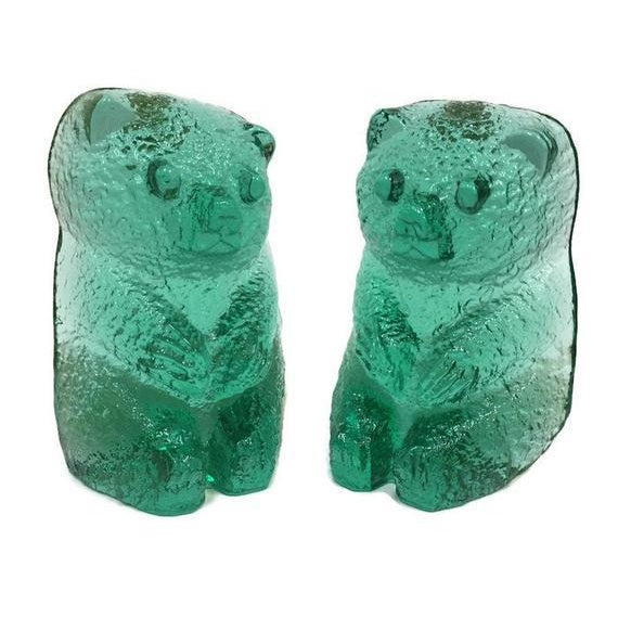 Vintage Blenko Glass Mint Green Bear Sculptures/Bookends - a Pair For Sale - Image 12 of 12