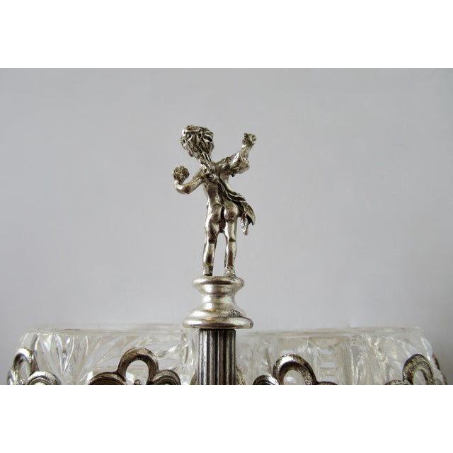 Vintage English Silver Plate Dual Salt & Pepper, Salt Serving Cellars W/Winged Cupid Figure - 3 Pieces For Sale - Image 11 of 13