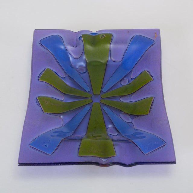 Gold Mid Century Modern Glass Ashtray by Higgins For Sale - Image 8 of 13