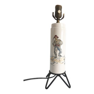 Mid-Century Modern Atomic Italian Hand-Painted Ceramic and Iron Table Lamp For Sale