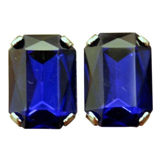 Lucite Faux Sapphire Emerald Shaped Clip-On Earrings For Sale
