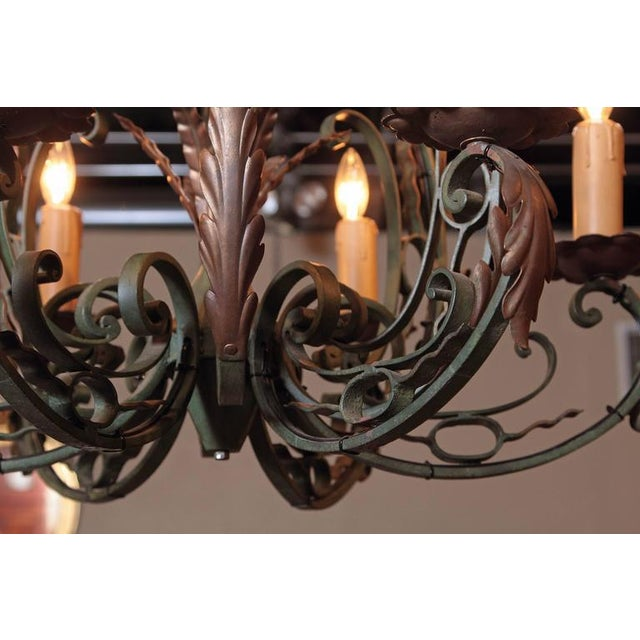 Early 20th Century French Six-Light Iron Chandelier With Verdigris Finish - Image 5 of 10