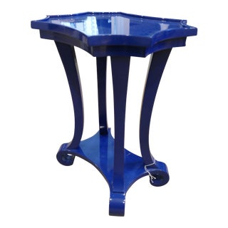 Navy Blue Lacquered Side Table For Sale