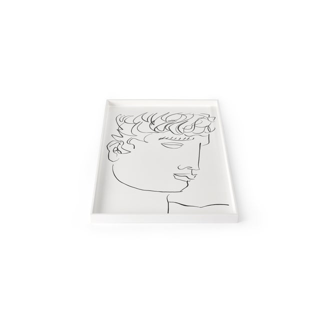 Contemporary Luke Edward Hall Collection Large Antinous Tray in Bright White For Sale - Image 3 of 3